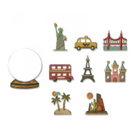 Sizzix Thinlits Die Set 10PK - Tiny Travel Globe 664182