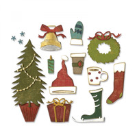 Sizzix Thinlits Die Set 12PK - Festive Things 664191