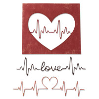 New! Sizzix Thinlits Die Set 3PK - Heartbeat 664416