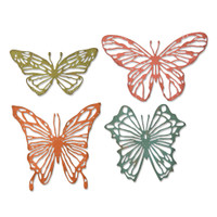 New! Sizzix Thinlits Die Set 4PK - Scribbly Butterflies 664409