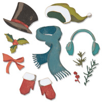 New! Sizzix Thinlits Die Set 11PK - Winter Wardrobe by Tim Holtz 664754