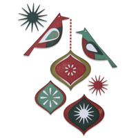 New! Sizzix Thinlits Die Set 10PK - Ornamental Birds by Tim Holtz 664740