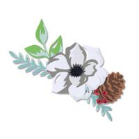 New! Sizzix Thinlits Die Set 13PK - Layered Winter Flower 664589