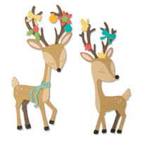 New! Sizzix Thinlits Die Set 10PK - Christmas Deer 664448