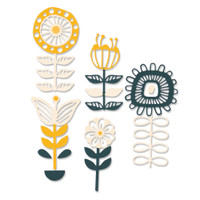 New! Sizzix Thinlits Die Set 13PK - Stackable Florals 664458