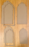 New! ItsCheaperThanTherapy - Jumbo Chipboard Tags/Shaker Set Scallop 6 pc.