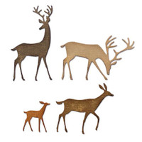 New! Sizzix Thinlits Die Set 4PK - Darling Deer by Tim Holtz 664968