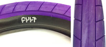 Cult Dehart Slick BMX Tire in Purple at Albe's BMX