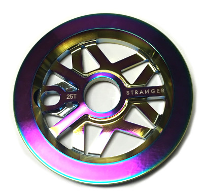 Stranger Strangergram sprocket with built in guard in the trippy dip color at Albe's BMX