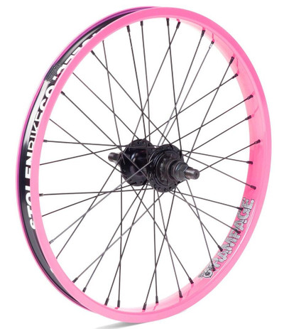 Stolen Rampage Rear wheel in Cotton Candy Pink at Albe's BMX Bike Shop