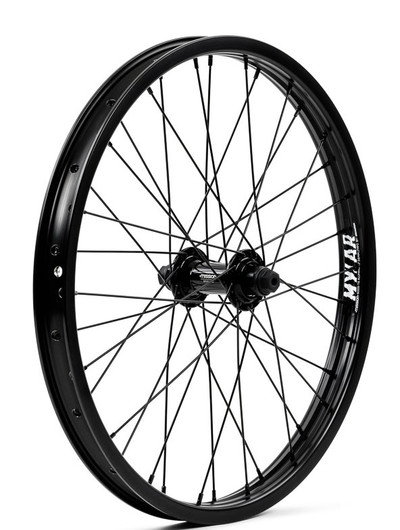 Mission Brigade 18 inch front wheel in black at Albe's BMX Bike Shop