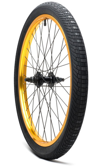 Wise Retrix2 24 inch wheel with tire in gold at Albe's BMX