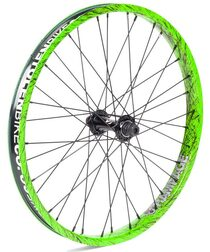 Stolen Rampage front wheel female in Toxic Splatter at Albe's BMX