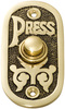 Bell Push - Black B/ground - 40x80mm - Polished Brass