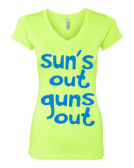 Sun's Out Guns Out blue Ladies  Sporty Tee