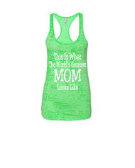 Mothers day Worlds greatest mom Racerback Burnout Tank Top