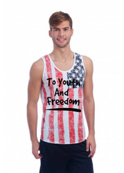 TO YOUTH AND FREEDOM July 4th  MENS TANK W US FLAG DISTRESSED