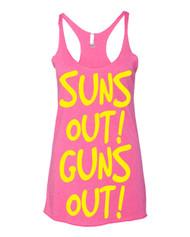Sun's Out Guns Out -  yellow Triblend Racerback Tank top