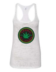 Marijuana Cannabis Chronic All Stoned Racerback Burnout Tank Top
