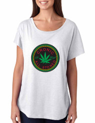 Marijuana Cannabis Chronic All Stoned hart Ladies Triblend Dolman