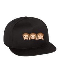 Emoji 3 monkeys Flat Bill Cap gift