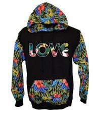 LOVE FLOWER PRINT Hooded Sweatshirt