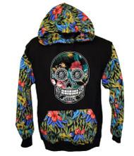 Sugar Skull FLOWER PRINT Hooded Sweatshirt
