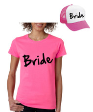 Bride Set Of 2 Hats and Womens Tee Shirts Bachelorette party Wedding Clothing