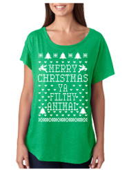 Merry Christmas Ya Filthy Animal hart Ladies Triblend Dolman