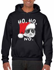 HO HO NO Grumpy Cat men Hooded Sweatshirt
