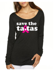 Save the ta tas Breast Cancer Tri Blend Long Sleeve Scoop