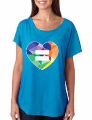 Equal Heart PRIDE hart Ladies Triblend Dolman