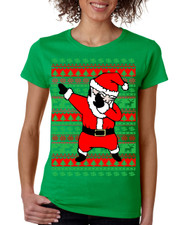 Dabbing Santa Claus Merry christmas Missy Fit Ladies T Shirt