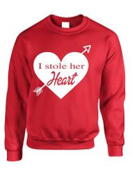 I stole her heart valentine day gift  Mens Sweatshirt