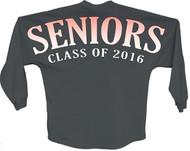 Seniors class of 2016 Orange pom print J america women Long sleeve shirt