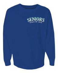 Seniors class of 2016 Blue pom print J america women Long sleeve shirt