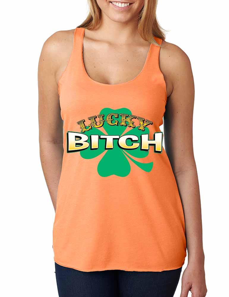 2c808cf64 Lucky Bitch Shamrock Women ST Patricks day Funny Tank Top. Price: $17.99.  Image 1
