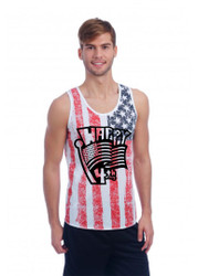 Happy 4th of july MEN tank top US FLAG DISTRESSED