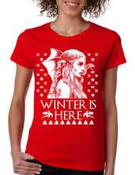 Women's T Shirt Winter Is Here Ugly Christmas Green Sweater Gift
