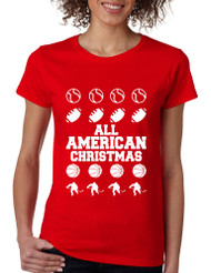 Women's T Shirt All American Christmas Love Sport Fans Gift