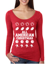 Women's Shirt All American Christmas Love Sport Fans Top