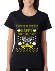 Women's T Shirt Happy Hanukkah Jewish Menorah Tee Shirt