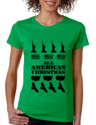 Women's T Shirt Merry American Christmas Ugly Sweater USA Top