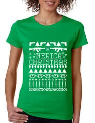 Women's T Shirt 'merica Ugly Christmas Sweater Love America