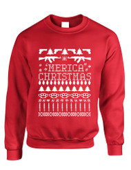 Adult Crewneck 'merica Ugly Christmas Sweater Love USA Holiday