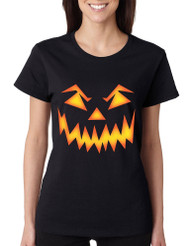 Women's T Shirt Angry Pumpkin Face Cool Halloween Costume