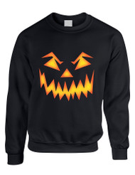 Adult Crewneck Angry Pumpkin Face Halloween Costume Top Idea