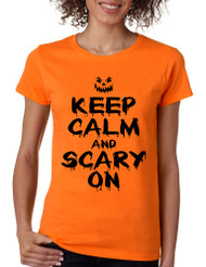 Women's T Shirt Keep Calm And Scary On Halloween Costume Tee