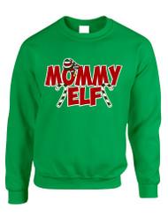 Adult Crewneck Mommy Elf Ugly Christmas Holiday Gift Top