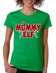 Women's T Shirt Mommy Elf Ugly Christmas Holiday Tee